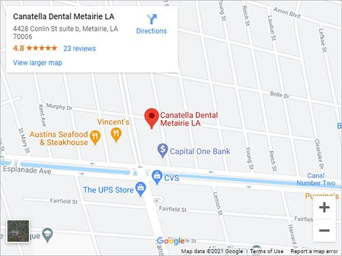 Directions to Dentist in Metairie, LA 70006 on 4428 Conlin Street, Suite B