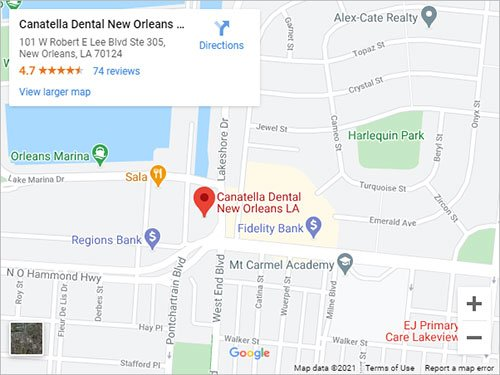 Directions to Canatella Dental in New Orleans, LA